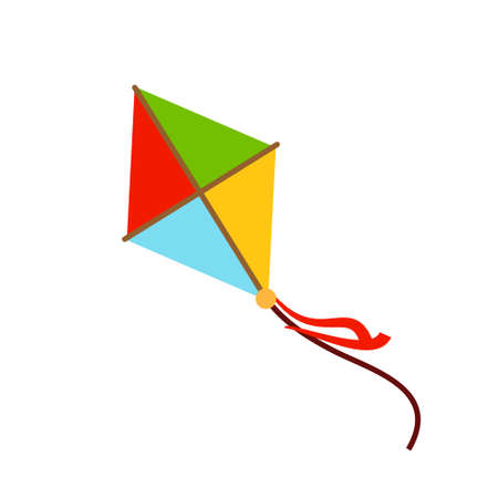 Kite decorated with ribbons flying. isolated vector icon Ilustración de vector