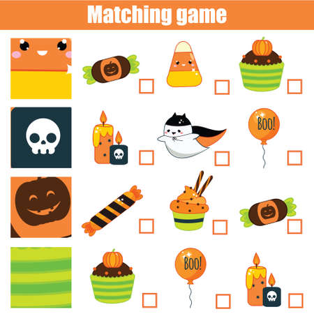 Matching game. Educational children activity Halloween theme. Match pattern with objects