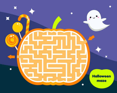Maze game for children. Halloween theme kids activity sheet. help ghost find sweet