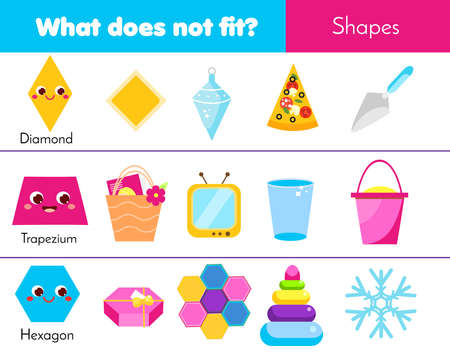 Educational children game. What does not fit type. learning geometric shapes for kids and toddlers. diamond, trapezium, hexagon
