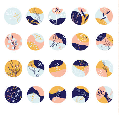 Collection of round abstract backgrounds with hand drawn shapes, leaves, spots. Modern circle icons. Trendy elements for social media, stickers