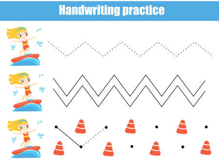 Girl on surf board. Handwriting practice sheet. Educational children game. Tracing lines for kids and toddlers