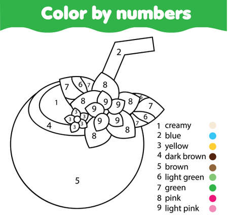 tropic juice in coconut. Summer theme Coloring page for kids. Educational children game. Color by numbers activity for toddlers