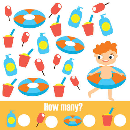 Mathematics educational children game. Study counting, numbers, addition. Summer holidays theme