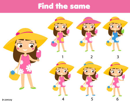 children educational game. Find the same pictures. Find two identical summer girls