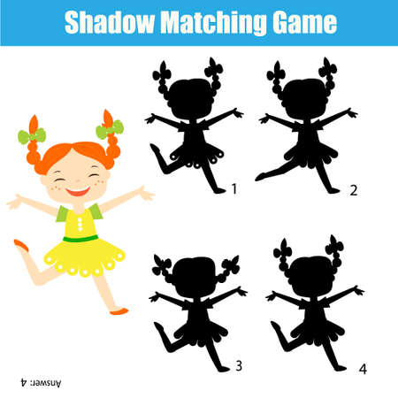 Shadow matching game for children. Find the right shadow for happy cartoon girl Ilustração