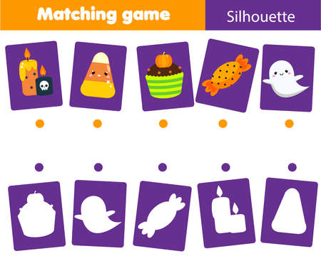 Shadow Matching game. Match objects with silhouette. Educational kids activity. Halloween theme fun page for toddlers.