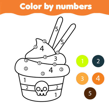 Color by number page with Halloween cupcake. Drawing kids activity. Printable fun for toddlers and children