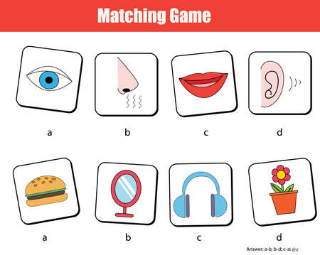 Matching children educational game. Match objects with human senses. human body theme activity for kids and toddlers. Ilustração