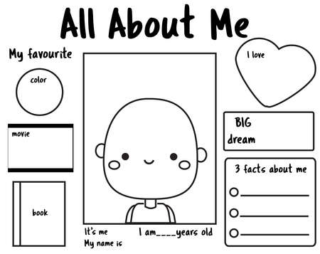 All about me printable back to school. Writing prompt for kids blank. Educational children page Ilustração