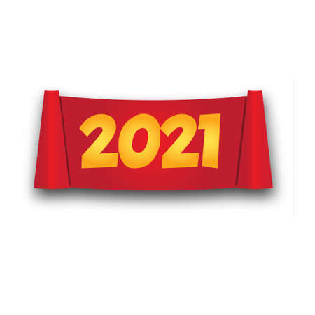 2021 New Year roll banner. isolated red scroll in realistic style. vector illustration