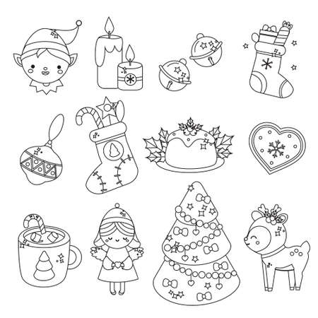 Cute Christmas line icons. Elf, spruce, deer and other New Year holiday symbols in kawaii style. Collection of isolated vector elements for winter celebration design