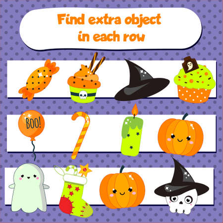 Educational children game for kids and toddlers. What does not fit logic game. Find odd one, extra object. Halloween theme