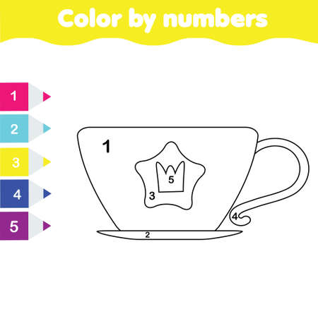 princess cup of tea. coloring page for kids. Educational children game for elementary level. Color by numbers for pre school age