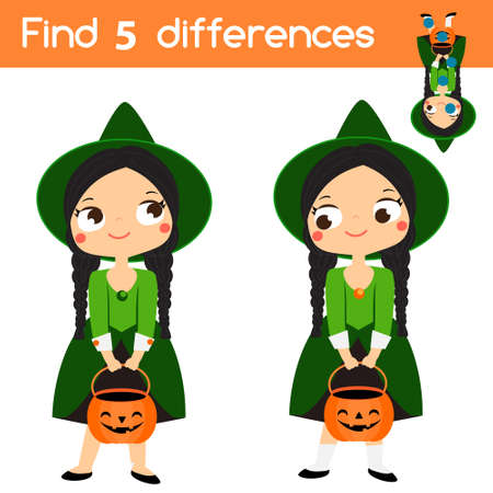 Find the differences educational children game with answer. Kids activity sheet with girl in witch costume. Halloween theme