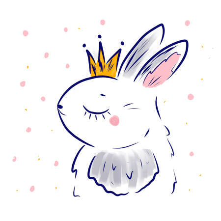 Cute rabbit wear princess crown. Kawaii Bunny. Sweet little Hare. Cartoon animal print for kids, toddlers and babies fashion, cards and etc