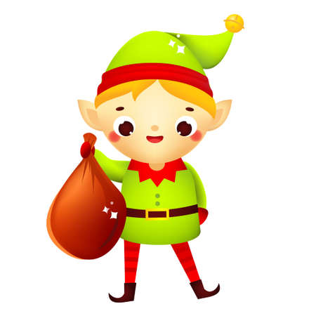 Christmas elf. Cute Santa dwarf helper holding big present. Isolated cartoon character for new Year greeting design Ilustração