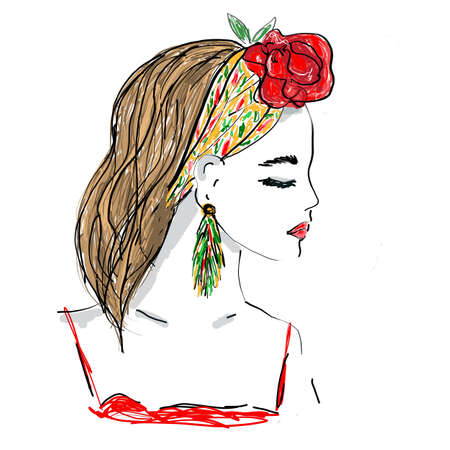 Young Woman with scarf and tropic flower in her hair. Elegant Female Portrait. fashion illustration sketch