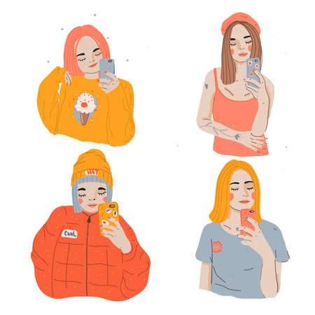 Cartoon girls making selfie with smart phone. Collection of Modern young females have fun with phones.