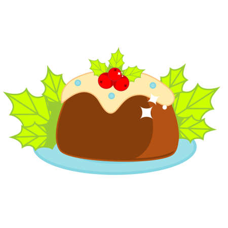 Christmas cake decorated with holli ilex leaves and berries. New Year bakery vector clip art