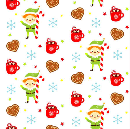Christmas seamless pattern with sweets, cookies and stockings. Colorful New year background for textile, wrapping and other design