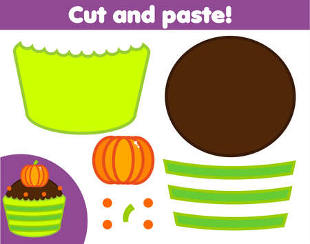 Creative children educational game. Paper cutting activity. Make a halloween sweet cupcake with glue and scissors