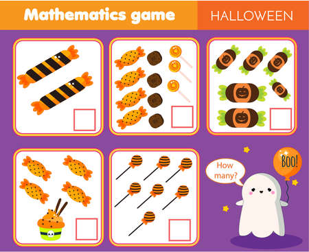 Counting educational children game. Study math, numbers, addition for preschool. how many objects Halloween theme kids mathematics Ilustração