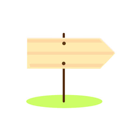 Wooden road sign. Cartoon Blank Arrow direction symbol