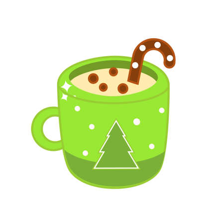 Christmas drink in cozy mug. Cup of hot cocoa with candy cane and cookie for New Year menu and other design. vector clip art