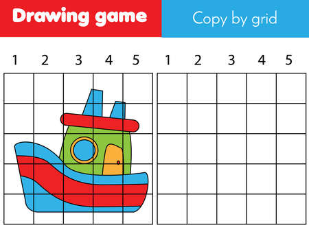 Copy picture by grid. Educational game for children and kids. Draw ship, boat toy. Ilustração