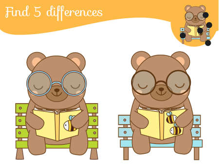Find the differences educational children game with answer. Kids activity with cartoon reading bear