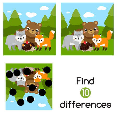 Forest animals, Find the differences educational children game with answer. Kids activity Ilustração