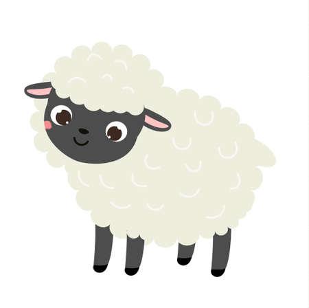 Cartoon sheep. Cute farm animal character, vector clip art