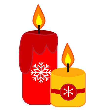 Christmas and New year candles. Isolated clip art, vector icon Ilustração