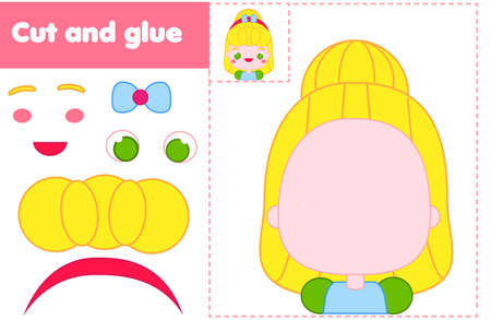 Cut and paste children educational game. Paper cutting activity. Make a cute princess with glue and scissors. DIY worksheet Ilustração