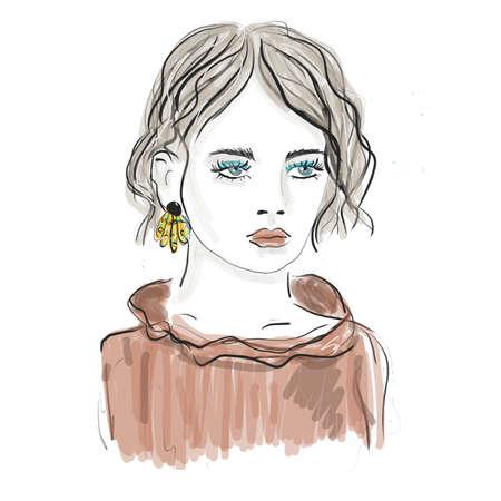 Young beautiful Woman Portrait. fashion illustration sketch Banco de Imagens