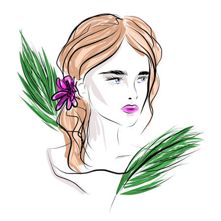 Young Woman with jungle tropical leaves. Elegant Female Portrait. fashion illustration sketch