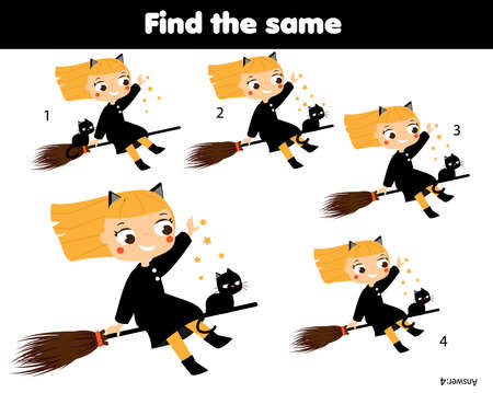 children educational game. Find same pictures. Find two identical witch. Halloween theme fun for kids and toddlers.