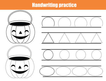 Halloween Handwriting practice sheet. early education worksheet for kids and toddlers. Basic writing Printable Children activity