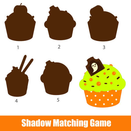 Shadow matching game. Find silhouette for Halloween cupcake. Educational kids activity Ilustração