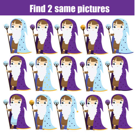 children educational game. Find same pictures. Find two identical wizards. Halloween theme fun for kids and toddlers. Ilustração
