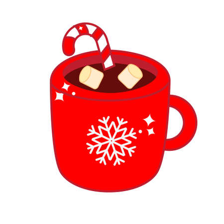 Christmas drink in cozy mug. Cup of hot cocoa with candy cane and marshmallow for New Year menu and other design. vector clip art