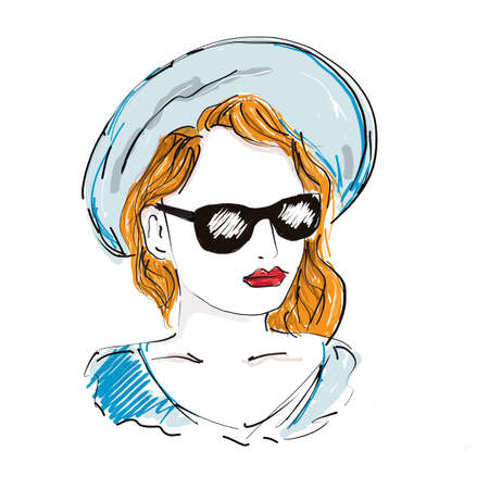 Young Woman in blue summer hat and sunglasses. Elegant Female Portrait. fashion illustration sketch