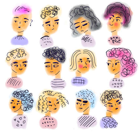 Doodle people. Man and woman faces. Funny male and female heads in quirky hand drawn style Banco de Imagens