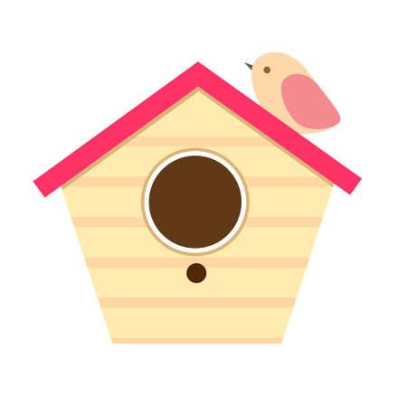 Wooden birdhouse with little bird Ilustração