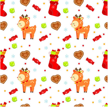 Christmas seamless pattern with deer, cookies and stockings. Colorful New year background for fabric textile, wrapping, boxing and other design Ilustração