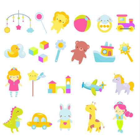 Big set of kids toys. Children game tools icons. Doll, car, teddy bear and other playing objects for toddlers. Vector collection