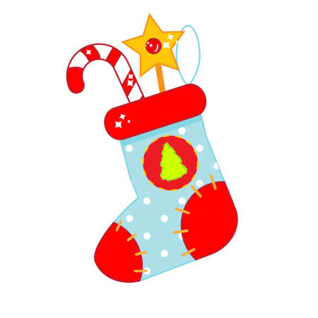 Christmas sock with gifts. New year gi stoking. vector clip art for seasonal design