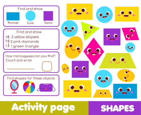 Geometric Shapes theme activity page for kids. Educational children game list for learning forms Ilustração