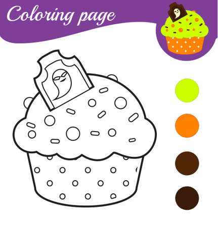Coloring page with Halloween cupcake. Printable activity for children, kids and toddlers. Ilustração